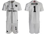 Paris Saint-Germain F.C. 2018/19 Champions League Away White Soccer Jersey with #1 Buffon Printing