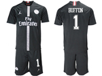 Paris Saint-Germain F.C. 2018/19 Champions League Home Black Soccer Jersey with #1 Buffon Printing