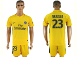 Paris Saint-Germain F.C. 2017/18 Away Gold Soccer Jersey with #23 Draxler Printing