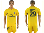 Paris Saint-Germain F.C. 2017/18 Away Gold Soccer Jersey with #29 Mbappé Printing