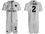 Paris Saint-Germain F.C. 2018/19 Champions League Away White Soccer Jersey with #2 T.Silva Printing