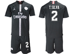 Paris Saint-Germain F.C. 2018/19 Champions League Home Black Soccer Jersey with #2 T.Silva Printing