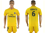 Paris Saint-Germain F.C. 2017/18 Away Gold Soccer Jersey with #6 Verratti Printing