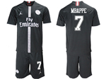 Paris Saint-Germain F.C. 2018/19 Champions League Home Black Soccer Jersey with #7 Mbappé Printing