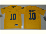 Michigan Wolverines #10 Tom Brady Gold College Football Jersey