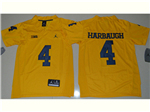Michigan Wolverines #4 Jim Harbaugh Gold College Football Jersey