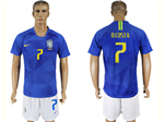 Brazil 2018 World Cup Away Blue Soccer Jersey with #7 D.Costa Printing
