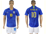Brazil 2018 World Cup Away Blue Soccer Jersey with #10 Neymar Jr. Printing