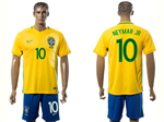 Brazil 2016/17 Home Gold Soccer Jersey with #10 Neymar Jr. Printing