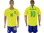 Brazil 2018 World Cup Home Gold Soccer Jersey with #10 Neymar Jr. Printing