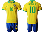 Brazil 2019/20 Home Gold Soccer Jersey with #10 Neymar Jr. Printing