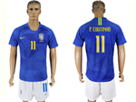 Brazil 2018 World Cup Away Blue Soccer Jersey with #11 P.Coutinho Printing