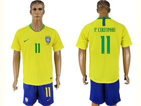 6ea281cafe0 Brazil 2018 World Cup Home Gold Soccer Jersey with  11 P.Coutinho Printing