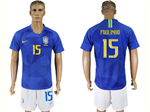 Brazil 2018 World Cup Away Blue Soccer Jersey with #15 Paulinho Printing