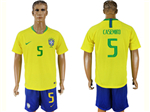 Brazil 2018 World Cup Home Gold Soccer Jersey with #5 Casemiro Printing