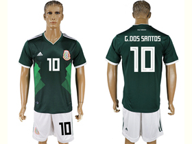 Mexico 2018 World Cup Home Green Soccer Jersey with #10 G.Dos Santos Printing