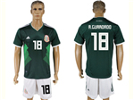 Mexico 2018 World Cup Home Green Soccer Jersey with #18 A.Guardado Printing