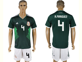 Mexico 2018 World Cup Home Green Soccer Jersey with #4 R.Márquez Printing
