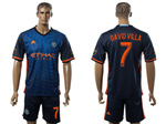 New York City FC 2016/17 Away Navy Blue Jersey with #7 David Villa Printing