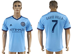 New York City FC 2017/18 Home Light Blue Jersey with #7 David Villa Printing