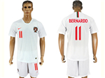 Portugal 2018 World Cup Away White Soccer Jersey with #11 Bernardo Printing