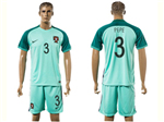 Portugal 2016/17 Away Green Soccer Jersey with #3 Pepe Printing
