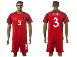 Portugal 2016/17 Home Red Soccer Jersey with #3 Pepe Printing
