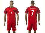 Portugal 2016/17 Home Red Soccer Jersey with #7 Ronaldo Printing