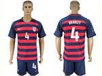 USA 2017 Gold Cup Soccer Jersey with #4 Bradley Printing