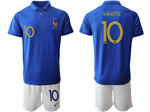 France 2019 100th Anniversary Blue Soccer Jersey with #10 Mbappé Printing