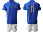 France 2019 100th Anniversary Blue Soccer Jersey with #11 Coman Printing