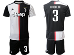 Juventus F.C. 2019/20 Home Black/White Soccer Jersey with #3 Chiellini Printing