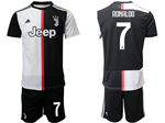 Juventus F.C. 2019/20 Youth Home Black/White Soccer Jersey with #7 Ronaldo Printing