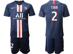 Paris Saint-Germain F.C. 2019/20 Home Navy Soccer Jersey with #2 T.Silva Printing