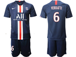 Paris Saint-Germain F.C. 2019/20 Home Navy Soccer Jersey with #6 Verratti Printing