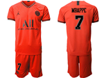 Paris Saint-Germain F.C. 2019/20 Away Red Soccer Jersey with #7 Mbappé Printing