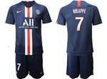 Paris Saint-Germain F.C. 2019/20 Youth Home Navy Soccer Jersey with #7 Mbappé Printing