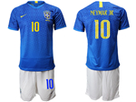 Brazil 2019/20 Away Blue Soccer Jersey with #10 Neymar Jr. Printing