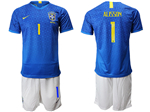 Brazil 2019/20 Away Blue Soccer Jersey with #1 Alisson Printing