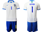 Brazil 2019 100th Anniversary Special-Edition White Soccer Jersey with #1 Alisson Printing
