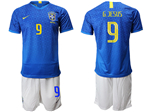 Brazil 2019/20 Away Blue Soccer Jersey with #9 G.Jesus Printing