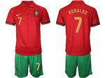 Portugal 2020/21 Home Red Soccer Jersey with #7 Ronaldo Printing