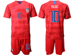 USA 2019/20 Away Red Soccer Jersey with #10 Pulisic Printing